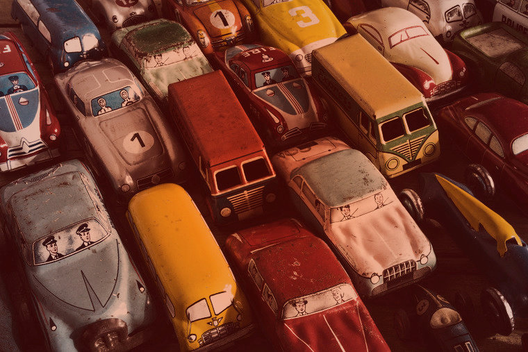 A collection of antique toy cars
